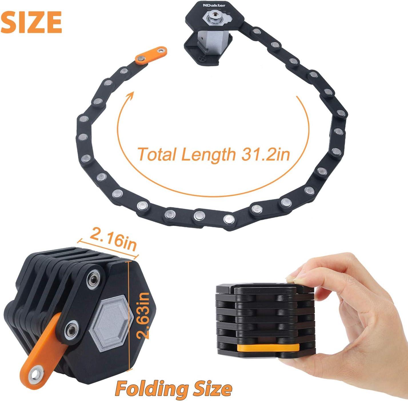 High Security Alloy Steel Locks Bike Burger Locks Heavy Duty Anti Theft NDakter Folding Bike Lock 3 Keys /& Mounting Bracket Included Bicycle Chain Lock 2.6FT//79CM