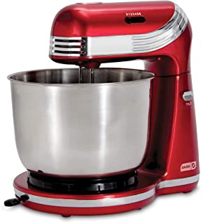 Dash Stand Mixer (Electric Mixer for Everyday Use): 6 Speed Stand Mixer with 3 qt Stainless Steel Mixing Bowl, Dough Hooks...