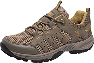 CAMEL CROWN Hiking Shoes Men Lightweight Breathable Mesh Walking Sneakers Low Top Boots for Outdoor Walking Trekking Backpacking