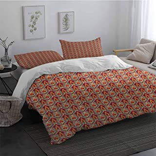3 Pieces Duvet Cover Set Retro Nature Inspired Abstract Repeating Motifs Curvy Leaves and Petals Antique Rococo Easy Fit Extra Soft Multicolor Long Twin