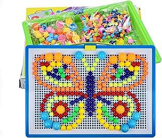 SAPU 296Pcs Mushroom Nails Pegboard,Jigsaw puzzle,Educational Building Blocks Bricks,Creative DIY Mosaic Toys,3D Games Bir...