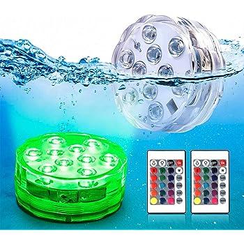 潜水 ライト LED 防水マルチカラー電池式リモコンで操作 WHATOOK 無線10灯LED再利用的 IP68防水 花瓶 水槽 金魚鉢 ハーバリウム お風呂 2点セット