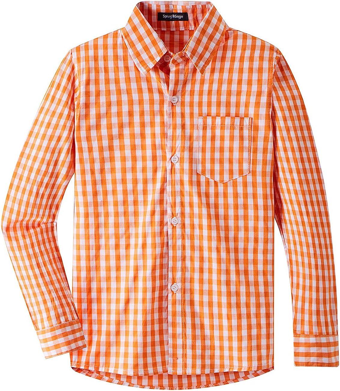 Spring&Gege Boys' Long Sleeve Plaid Poplin Button Down Shirt