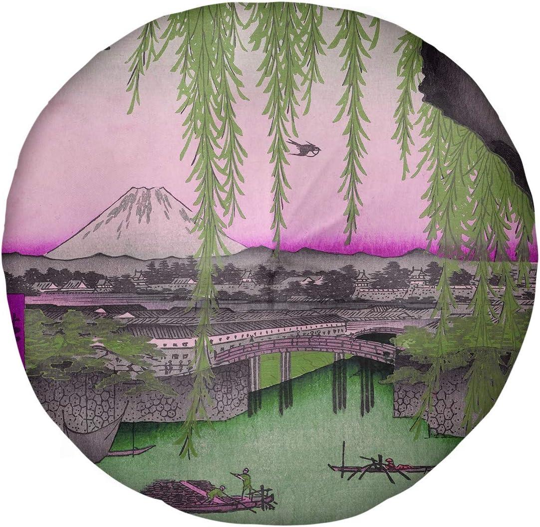 Surprise price ArtVerse Utagawa Hiroshige Yatsumi Bridge Floor Gorgeous Pillow-R Pink in
