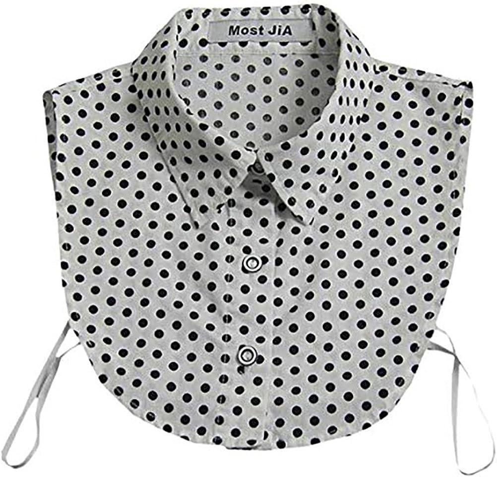 LANGUGU Stylish Detachable Half Shirt Blouse Cotton False Collar Polka Dot Print Fake Collar Dickey Collar