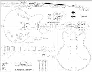 Set of 2 Guitar Plans - Gibson ES-335 and Gibson CS-356, -- Full Scale - Actual Size