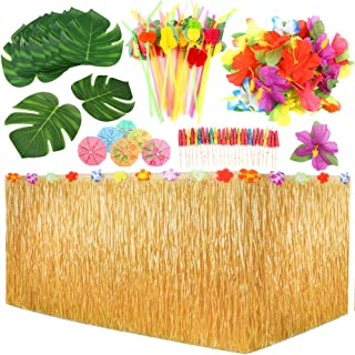 PP OPOUNT 109 Pieces Hawaiian Party Decoration Set with Table Skirt, Palm Leaves, Hawaiian Flowers, Multicolored Umbrellas...