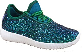 FZ-Zone-1k Youth Girl's Spuer Light Weight Lace Up Glitter Walking Sneaker Shoes