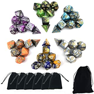 SmartDealsPro 6 x 7 Sets(42 Pieces) Double Colors Polyhedral Dice Set with Pouches for Dungeons and Dragons DND RPG MTG Table Games D4 D6 D8 D10 D12 D20 (6-Colors Set 2)
