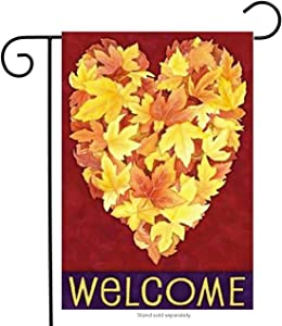 Toland Home Garden Leaf Heart 12.5 x 18 Inch Decorative Fall Autumn Leaves Welcome Garden Flag