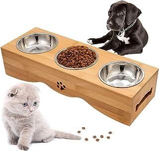 handrong Dog Bowls Dog Feeder Bowls Pet Bowl Elevated Feeding Bowl Water Food Bowl Dog Cat Pet Dish Pet Bowl Set with Stan...