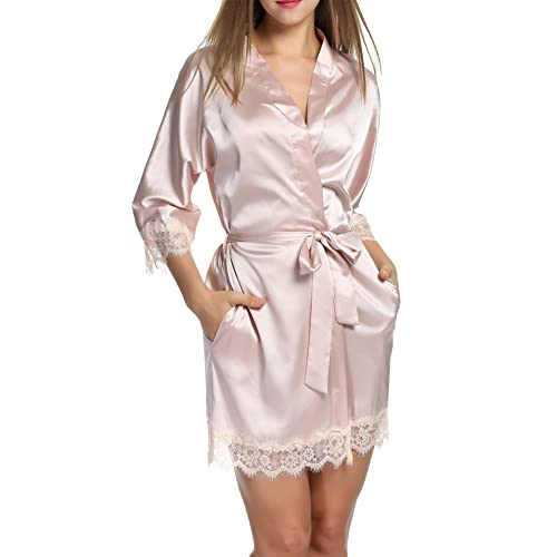5d0f29ca6b Hotouch Women s Bathrobes Short Satin Kimono Robes Bridesmaids Sleepwear  with Oblique V-Neck S-