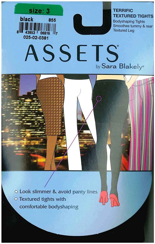 ASSETS by Sara Blakely Terrific Raised Diamond Textured Tights Hosiery #855 (5 Black) (1)