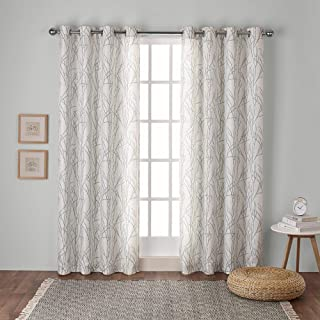 Exclusive Home Curtains Branches Linen Blend Window Curtain Panel Pair with Grommet, 54x63, Seafoam, 2 Count