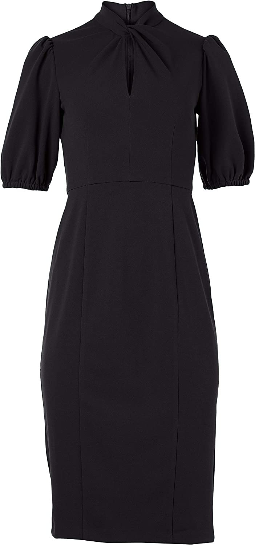 Donna Morgan Women's Short Puff Sleeve Safety Financial sales sale and trust Neck Sheath Dress Twist w