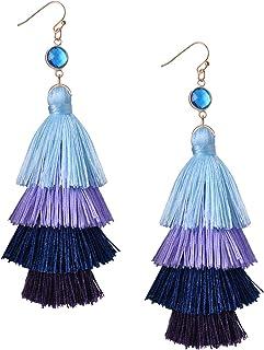 KELITCH Multi-Layers Tassel Earrings Pendant Drop Earrings Handmade Bohemian Dangle Earrings New Fashion Style (Light Blue F)
