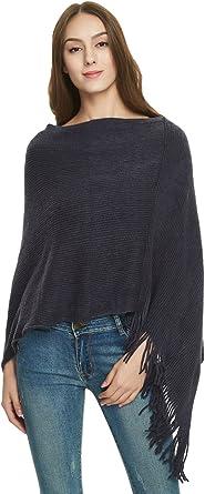 Ferand - Poncho para mujer con flecos, elegante capa de doble cuello