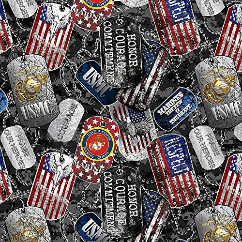 United States Military US Marines USMC Cotton Fabric with Dog Tags and Digi Camo Ground Design-Sold by The Full Yard