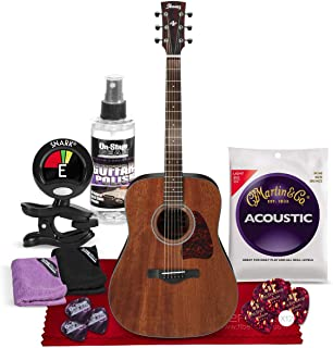 Ibanez AW54 Artwood Dreadnought Acoustic Guitar - Open Pore Natural with Tuner + Picks + Strings + Instrument Accessory Bundle