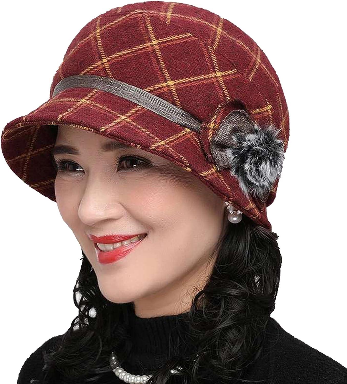 ColorSun Women Ladies Retro Foldable Winter Warm Cotton Plaid Bucket Cap Beret Hats with Flower