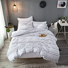 Merryfeel Cotton Seersucker Duvet Cover Set,100% Cotton Yarn Dyed Seersucker Woven Striped Comforter Cover with 2 pillowshams 3 Pieces Bedding Set- King