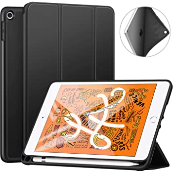 "Ztotop Case for iPad Mini 5 2019 with Pencil Holder, Lightweight Soft TPU Back and Trifold Stand Smart Cover with Auto Sleep/Wake,Protective for iPad Mini 5th Generation 7.9"" 2019 Release,Black"