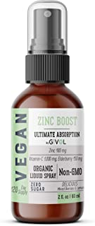 GIVOL Organic ZINC Boost Mist 100mg (Extra Strength) Liquid Spray for Kids & Adults - Immune Boost - High Flavonoid Levels...