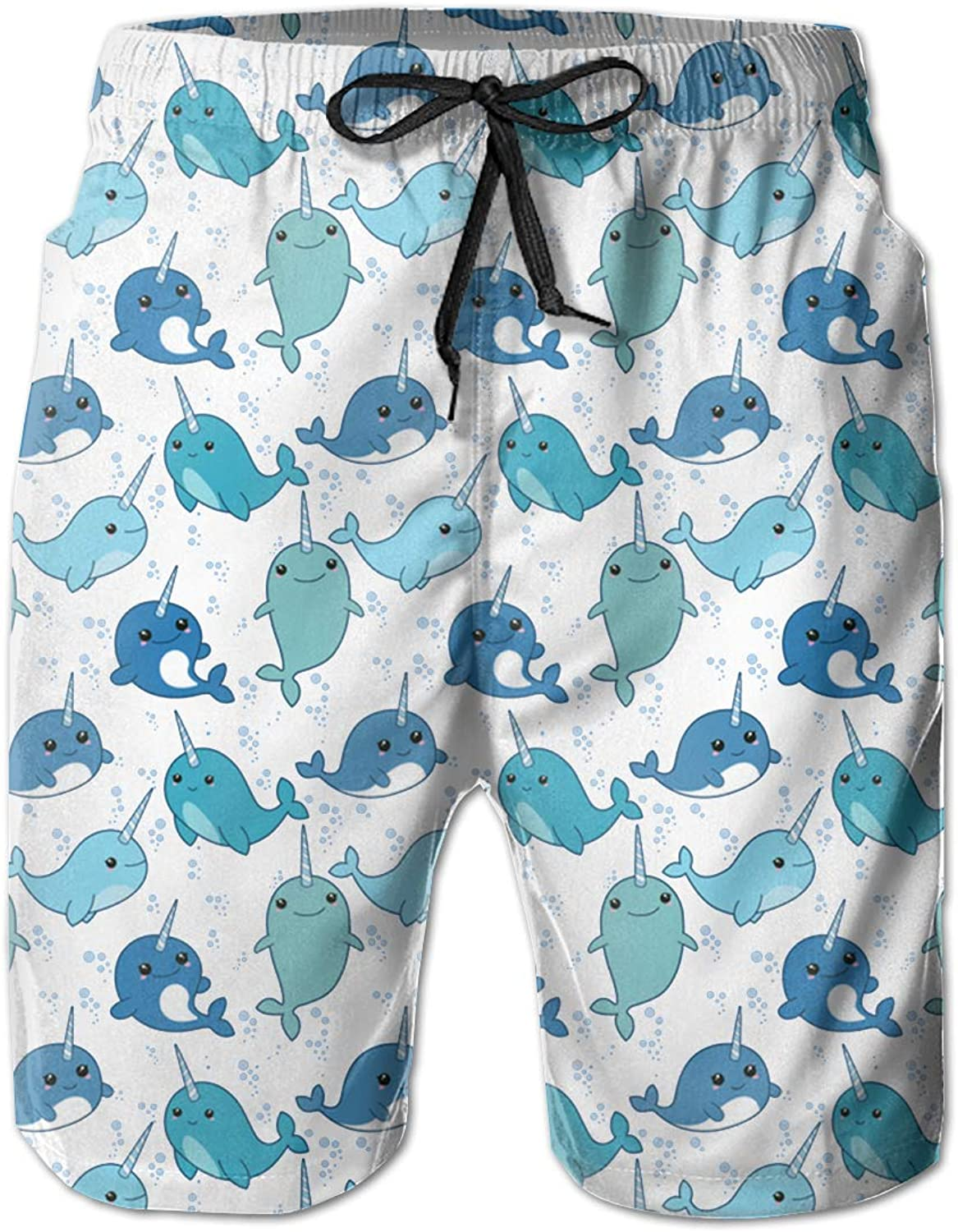 843bde4af4 Linxher Cute Narwhal Narwhal Narwhal Pattern Men's Swim Trunks Quick Dry  Swimming Volley Beach Board Shorts a3670e