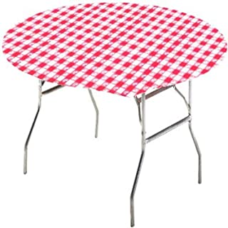 (NA) - Creative Converting Round Stay Put Table Cover, 150cm , Red Gingham