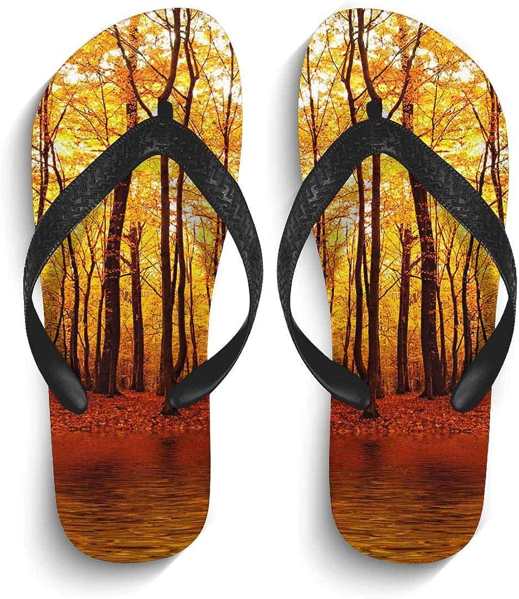 InterestPrint Non-Slip Flip Flop Slippers Pumpkins Autumn Leaves Black Straps Slim Thong Sandal for Men
