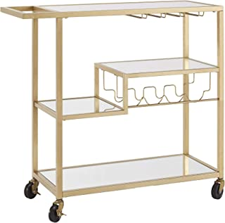 Union 5 Home Combourg Gold Metal Mobile Bar Cart with Mirror Glass Top