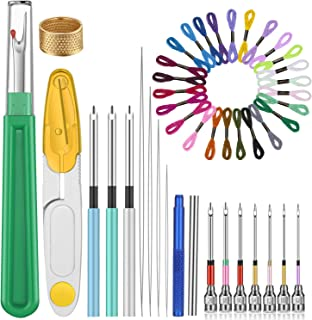 43 Pieces Cross Stitch Kit Embroidery Punch Needle Copper Thimble Embroidery Floss Seam Ripper Needle Threader for Cross Stitch Craft Supplies