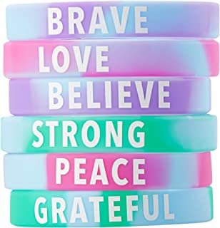 Inspirational Rubber Bracelets - 36-Pack Silicone Wristbands with 6 Positive Word Designs, Motivational Gifts, Party Favors for Kids, Teens, Adults