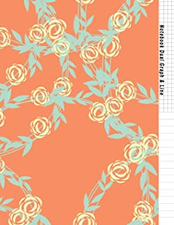 Notebook Dual Graph & Line: Orange Flower Soft Cover Book Half Lined and Half Graph 5x5 on the Same Page, Coordinate, Grid...