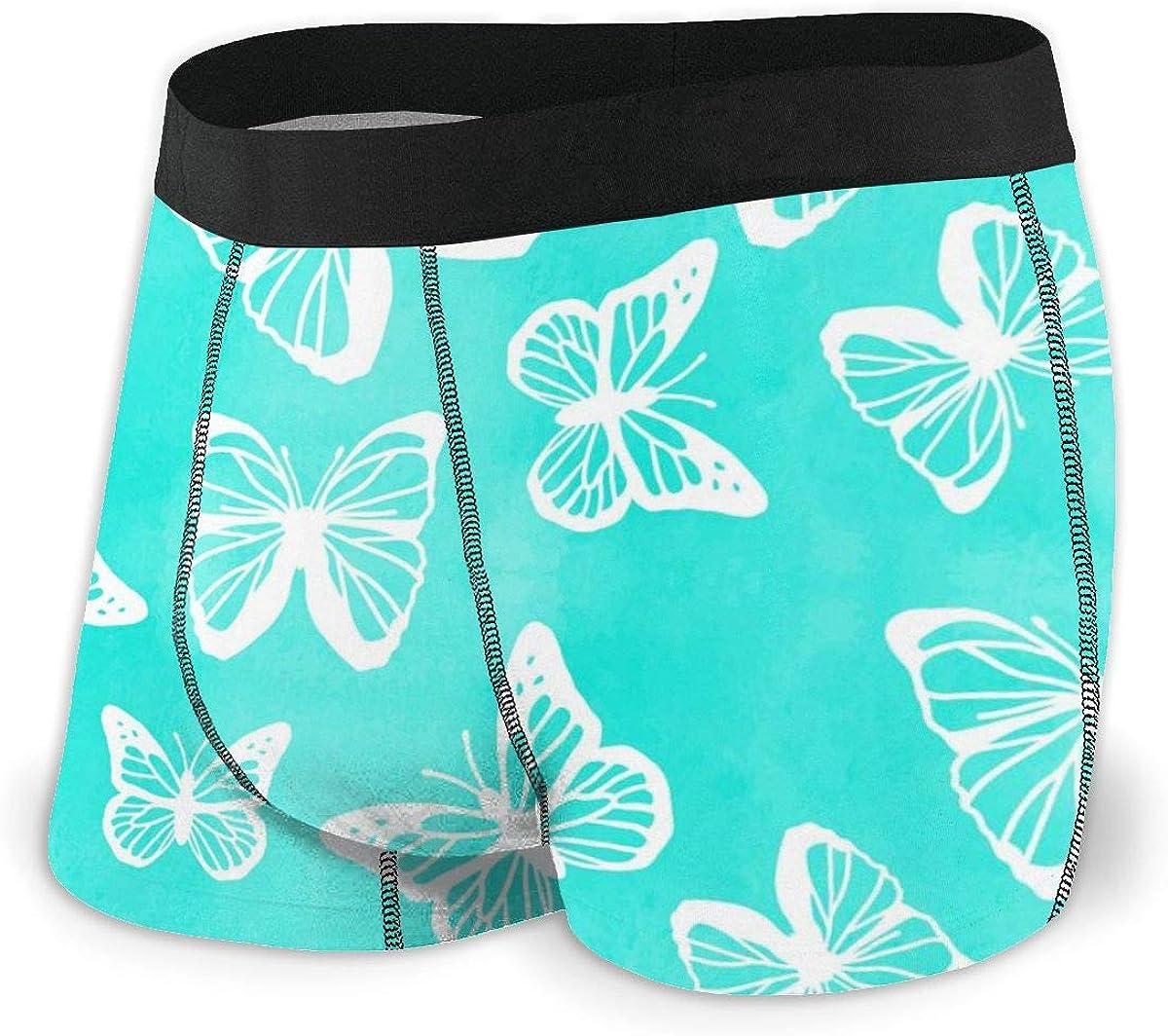 Mens Boxer Briefs Butterflies Spring Summer Turquoise Breathable Underwear