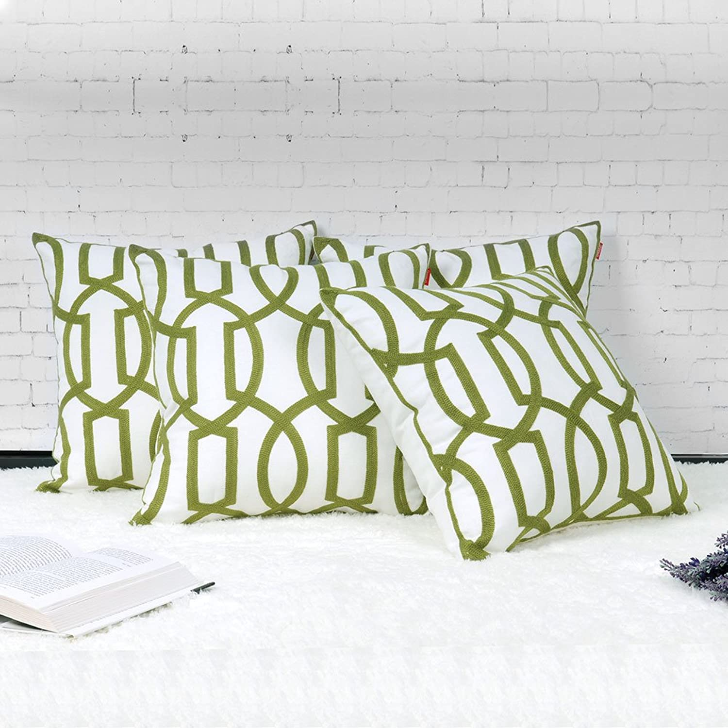 Shinnwa 4 Pcs Cotton Linen EMBROIDERY Decorative Throw Pillow Case Cushion Cover for Living Room 18  By 18 , Green