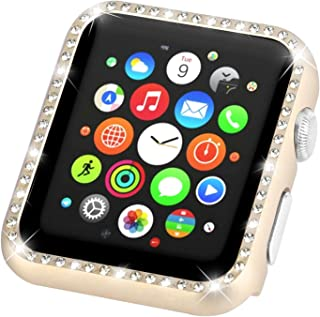 Leotop Compatible with Apple Watch Case 38mm, Metal Bumper Protective Cover Frame Accessories Women Girl Bling Shiny Crystal Rhinestone Diamond Compatible iWatch Series 3/2/1(Diamond Gold, 38mm)