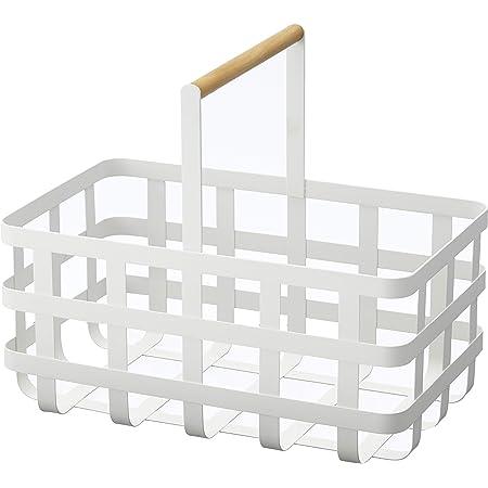 山崎実業 洗濯かご 取っ手付き 深型バスケット トスカ ホワイト 3372