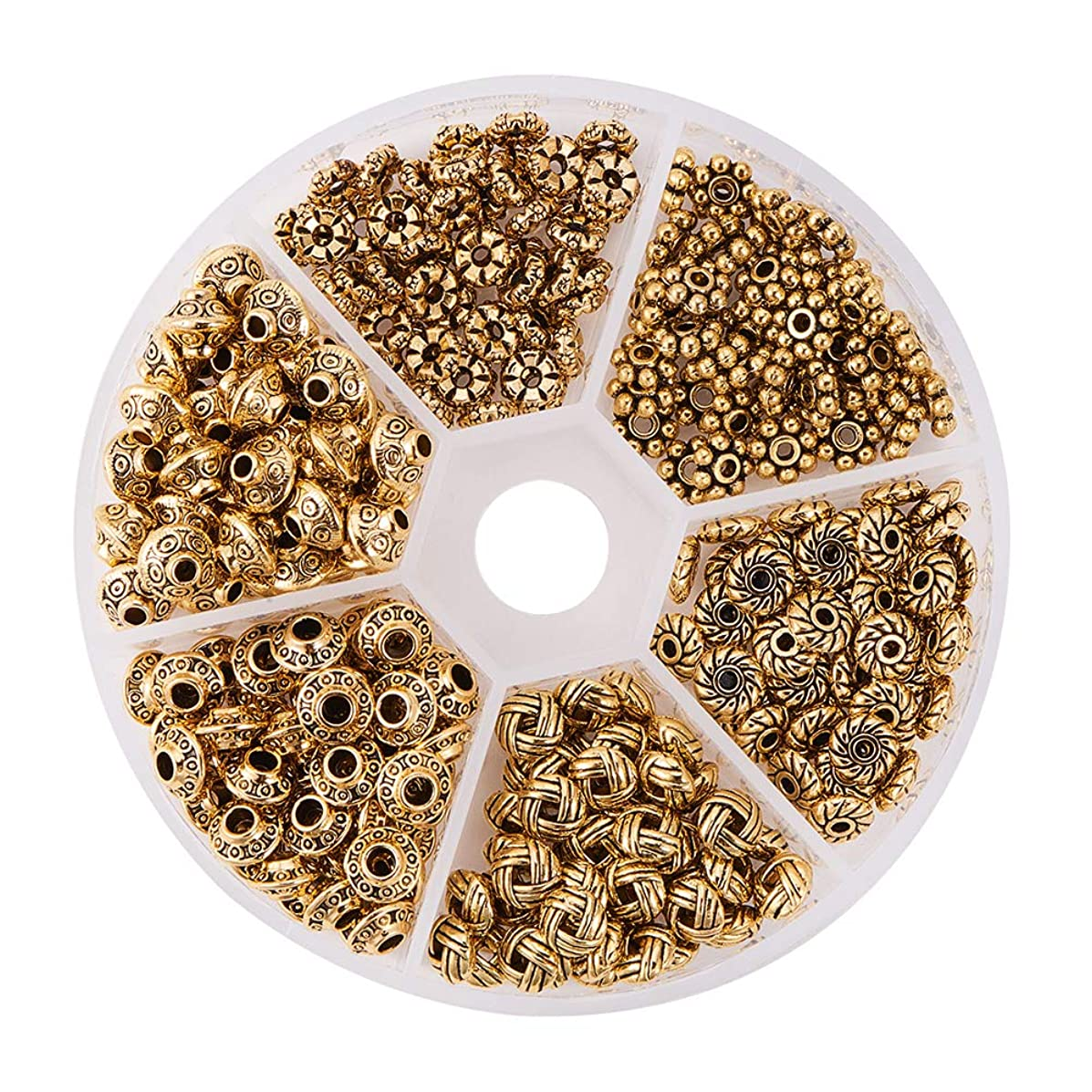 PH PandaHall 1Box About 300pcs Antique Golden Tibetan Style Spacer Beads Jewelry Findings Accessories for Bracelet Necklace Jewelry Making (5.5~6.5x2~7.5mm, Hole: 1~2mm)