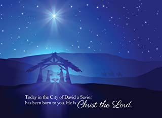 Christmas Greeting Cards - H1601. Greeting Cards Featuring a Nativity Scene with a Biblical Christmas Message. Box Set Has 25 Greeting Cards and 26 White with Silver Foil Lined Envelopes.