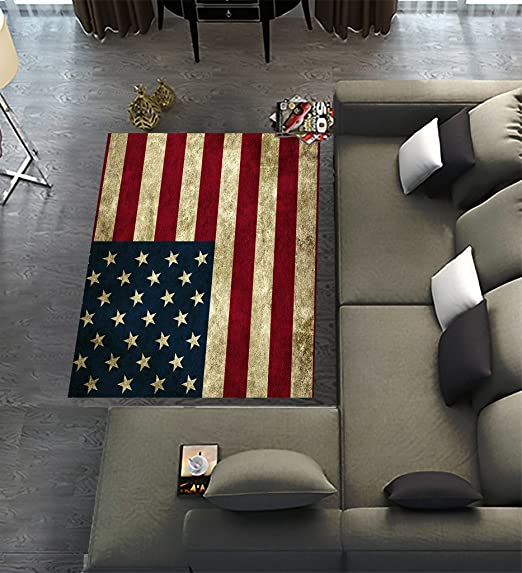 Amazon Com Custom American Flag Area Rugs Carpet American Flag Modern Carpet Floor Rugs Mat For Home Living Dining Room Playroom Decoration Size 7 X5 Furniture Decor