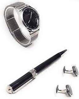 طقم هدية للرجال من جرايفون، ساعة قلم وازرار اكمام فضية وسوداء