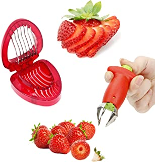 Estrattore di foglie di frutta Fragola Huller Steli di pomodoro in metallo Gadget di rimozione di plastica Gadget da cucina di Strawberry Hullers