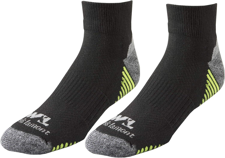 Men's Black/Hi-Viz Performance Quarter Work Socks, All Day Comfort, 2-Pair Pack, Medium (Wells Lamont 8504M)
