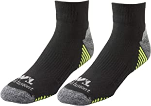 Men's Black/Hi-Viz Performance Quarter Work Socks, All Day Comfort, 2-Pair Pack, Medium (Wells Lamont 8504M)