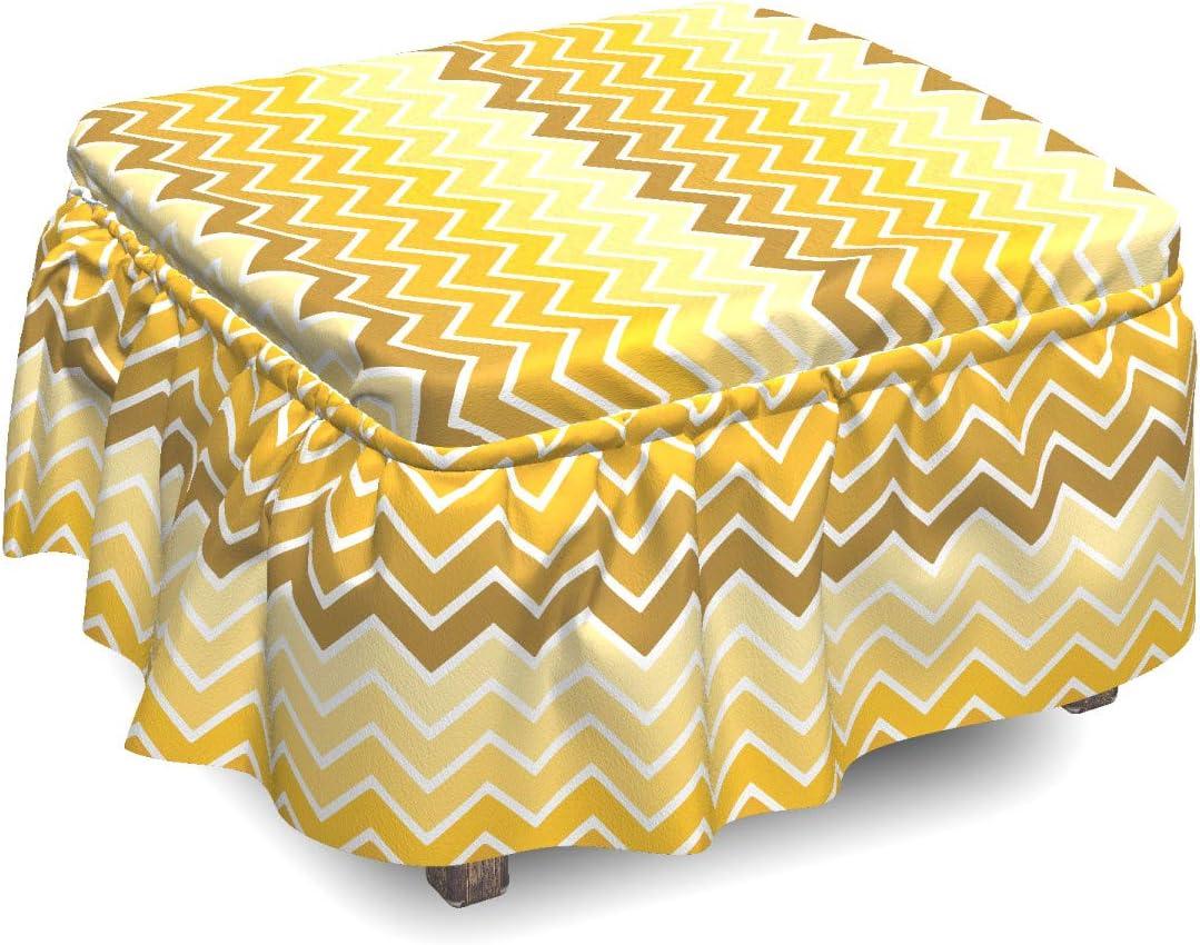 Ambesonne Yellow Philadelphia Mall Max 62% OFF Ottoman Cover Chevron Zigzag Sl Ombre Piece 2
