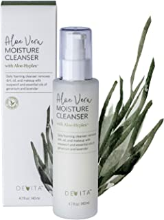 Aloe Vera Moisture Cleanser for face with AloeHyplex by DeVita - vegan anti-aging face wash for normal, dry, oily acne, combination, or sensitive skin to help hydrate, gently remove makeup - 4.7fl oz