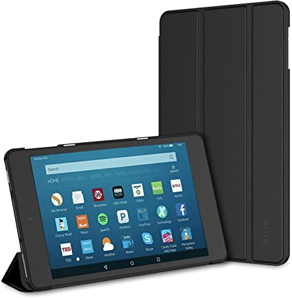 JETech Case for All-New Amazon Fire HD 8 Tablet (8th / 7th / 6th Generation - 2018, 2017 and 2016 Release) Smart Cover with Auto Sleep/Wake, Black