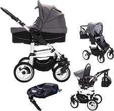 Bebebi Paris | 4 in 1 Kinderwagen Komplettset | ISOFIX Basis & Autositz | Luftreifen | Farbe: Montmartre