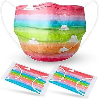 Kids' 60PCS Disposable Face Masks Rainbow Watercolor Cloud Pattern Individually Wrapped 3-Layer Filter Elastic Earloop Ski...